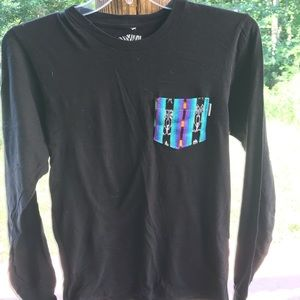 Other - Black long sleeve with patterned pocket
